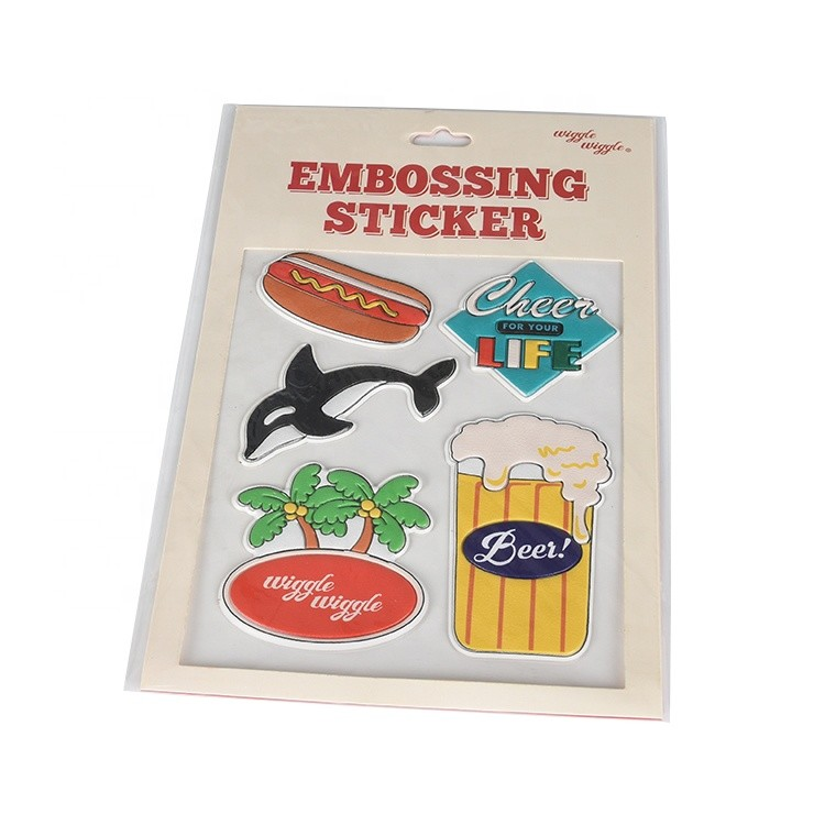 Custom Full Color Printing Cartoon 3D Clear Embossed Epoxy Sticker for Kids