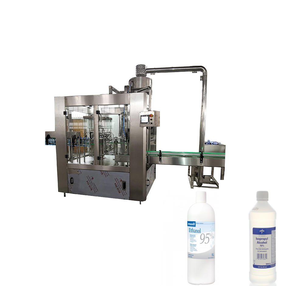 Automatic 3 in 1 Alcohol Liquid Water 0.1-2L Plastic Bottle Washing Filling Machine