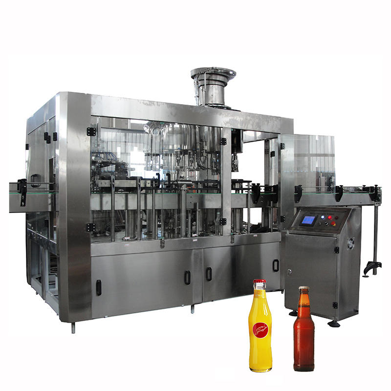 Automatic 500ml 3 in 1glass bottle water juice filling and capping machine