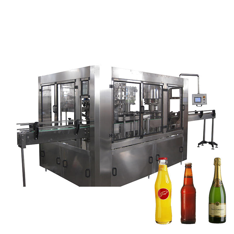 Automatic beer glass filling and sealing machine soda water glass bottling machine line