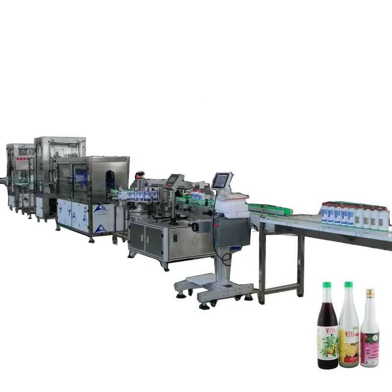 Automatic linear soda water glass bottle filling and sealing machine line