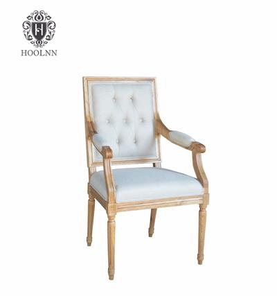 For Room Solid Wood Wooden Upholstered Dining Table And High Back Arm Chairs/Dining Chairs with Arms