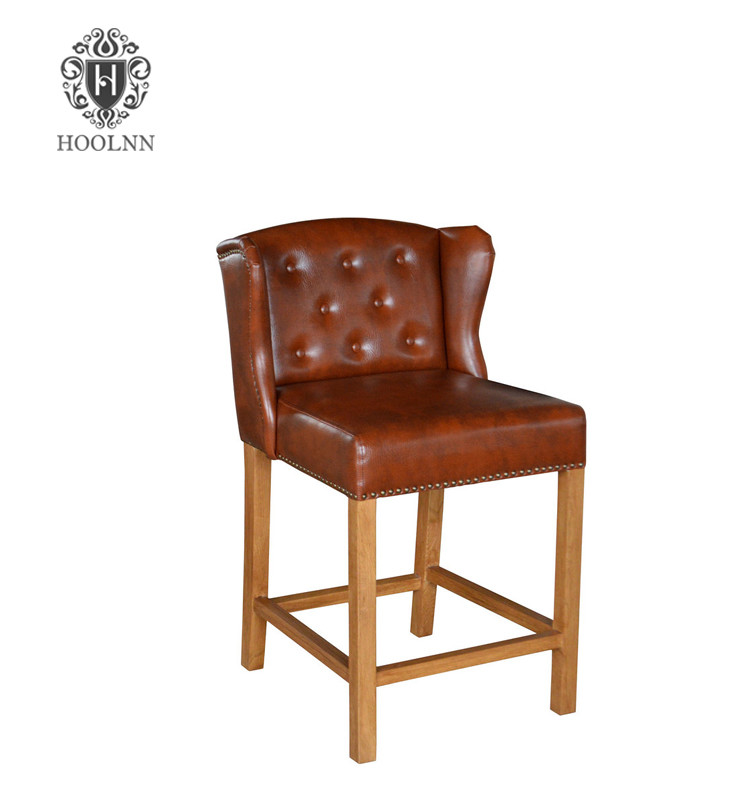 French Antique Leather Bar Chair S2011