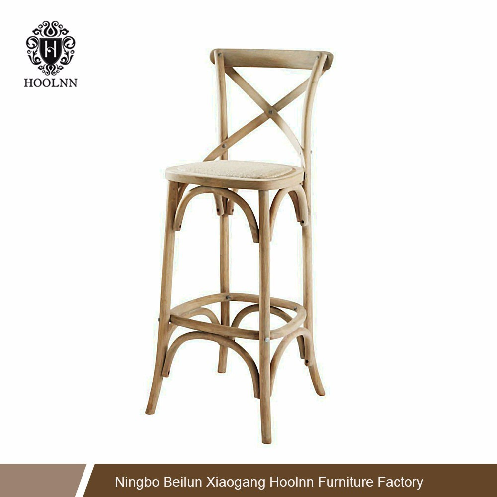 French-Style Wood Crossback Bar Chair