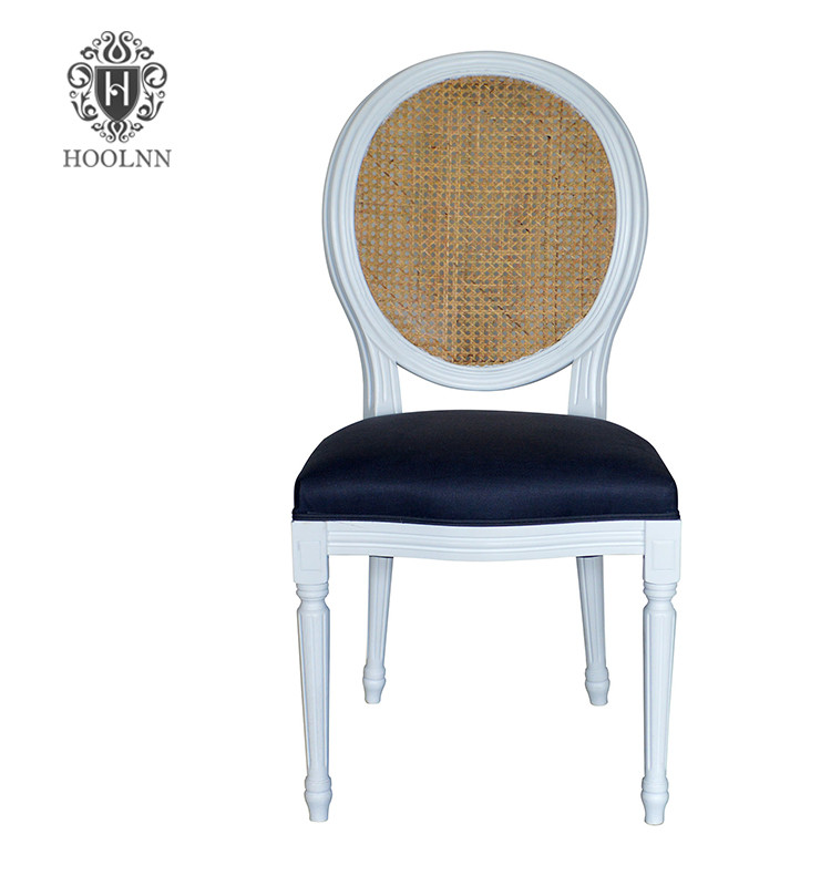 P2196-6 Vintage French Louis Oak Framed Upholstered White Lacquer Button Oval Back Dining Chair