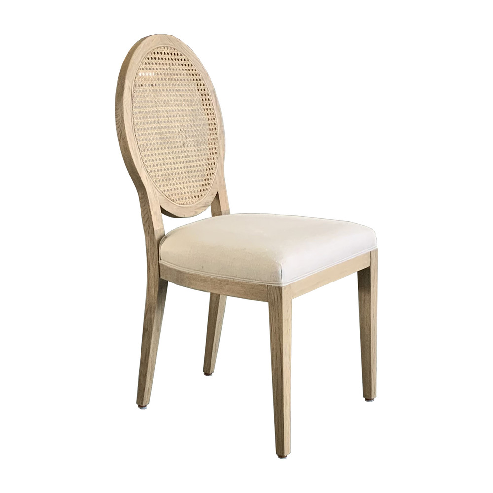 French Style Round Cane Back Oak Wooden Dining Chair P1280