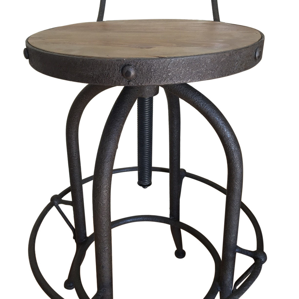 French-Style Classical Wrought Iron Bar Stool