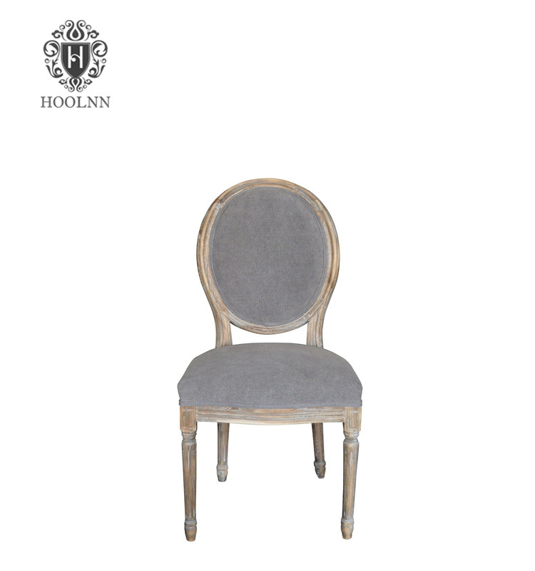 P2196-5 Vintage French Round Upholstered Side Medallion Chair