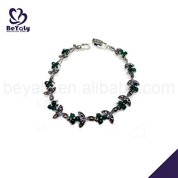 Antique green stone silver thailand bracelets