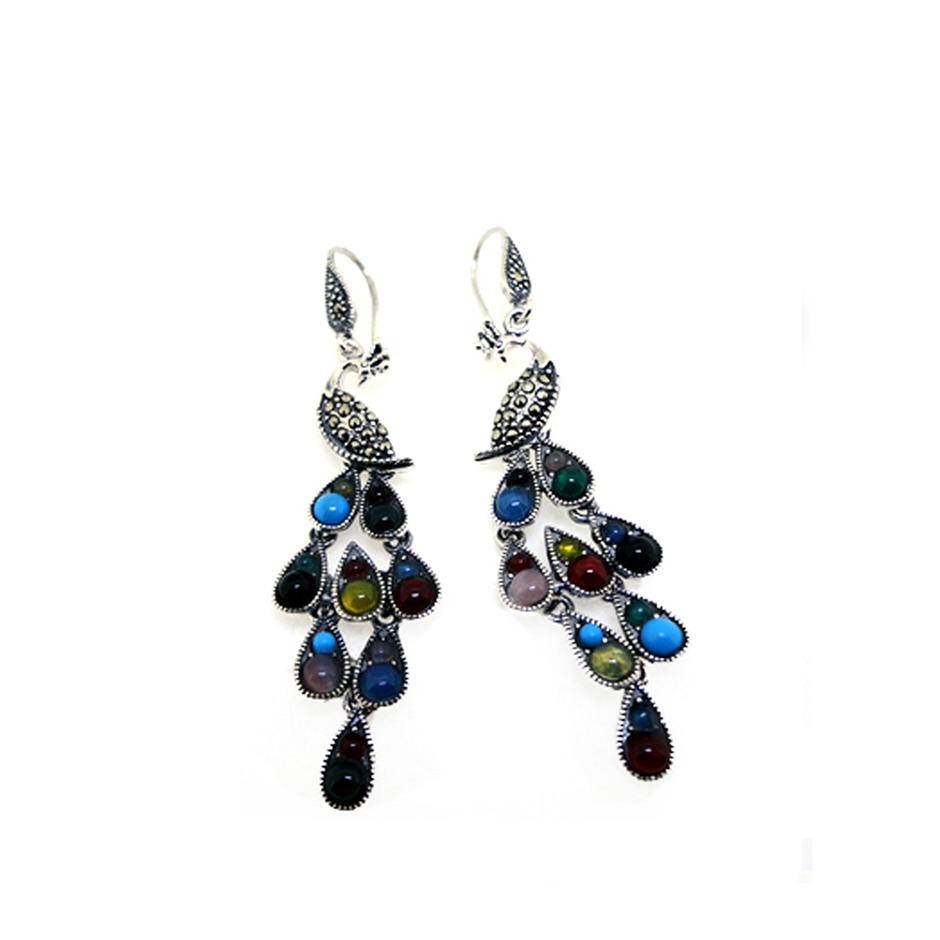 Cheap antique silver color stone peacock earring models