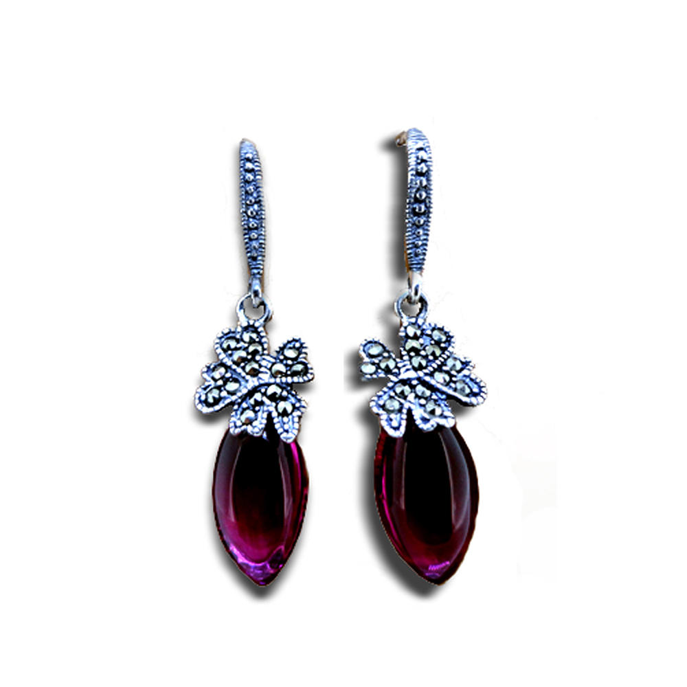 Antique style violet agate silver accessories earring