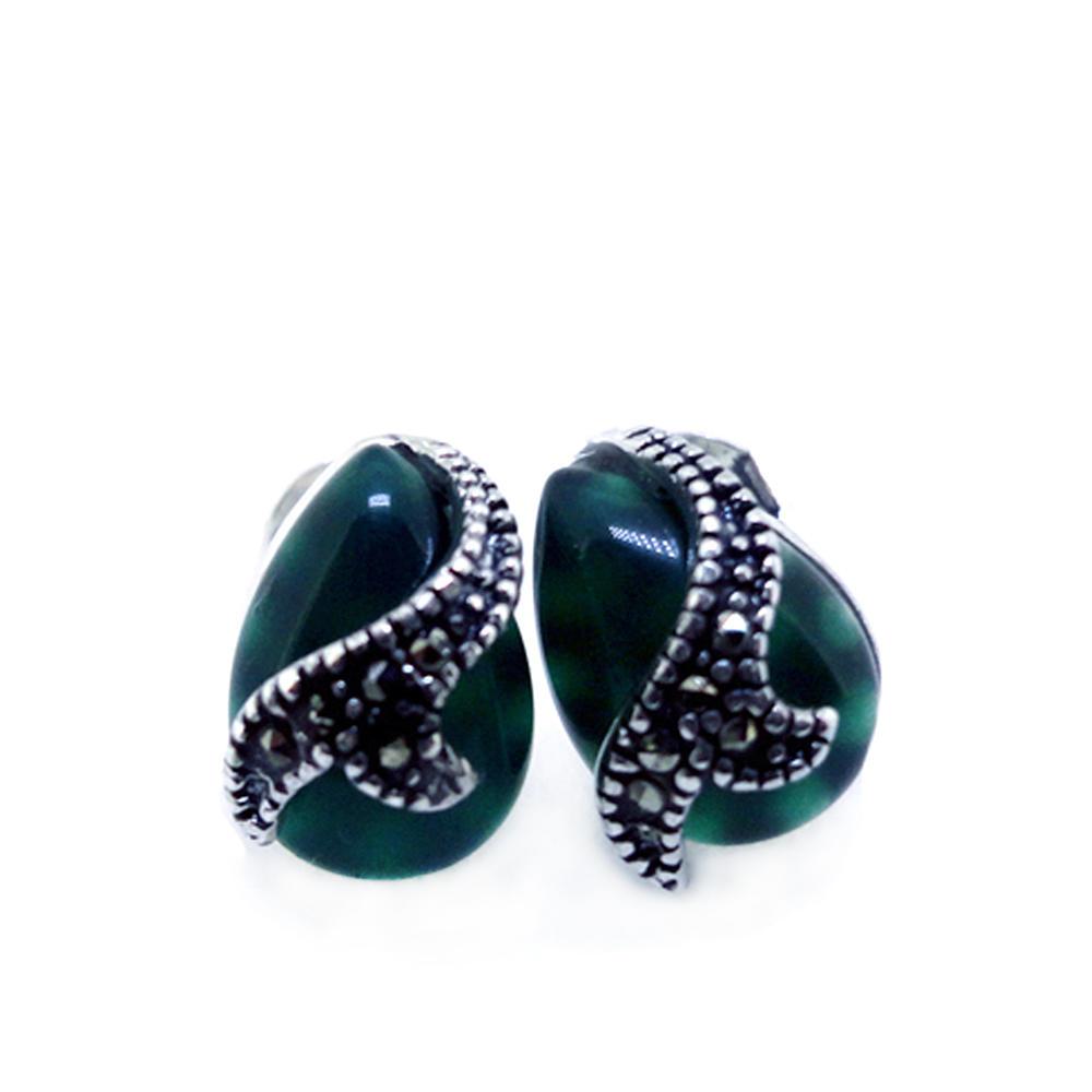 Braided Black Onyx Rhombus Silver Jade Gemstone Earrings
