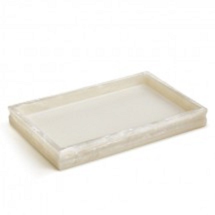 Glossy White Transparent Pearl Hotel Poly Resin Bath Accessory Amenity Tray Set