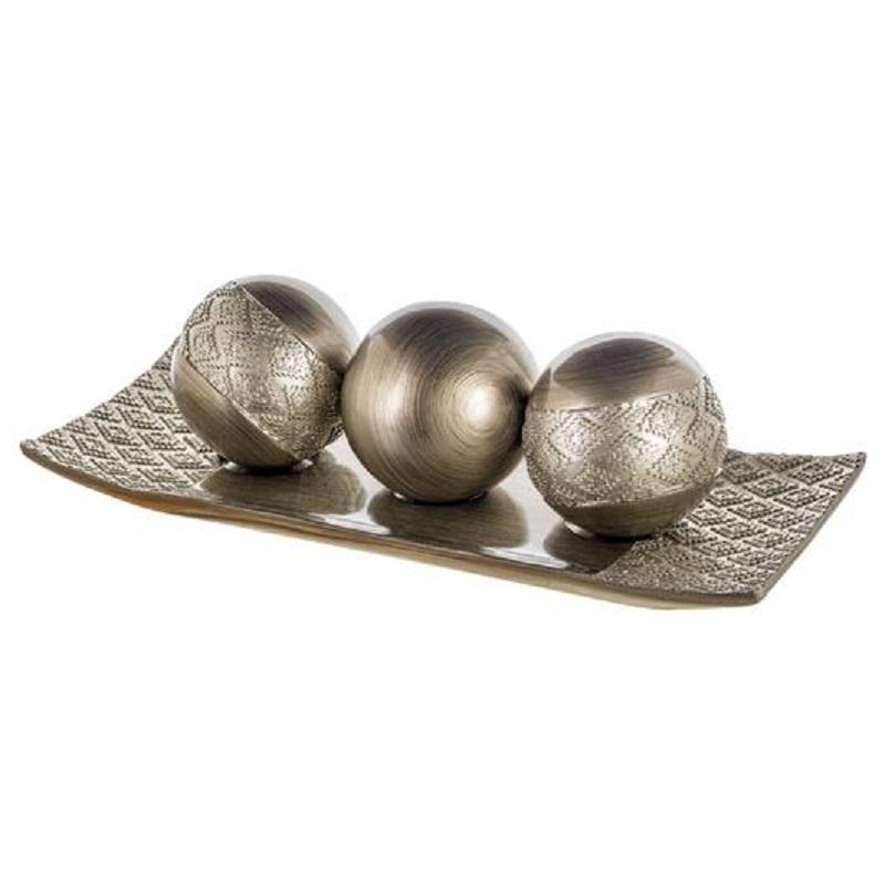 Silver Popular Design Polyresin Tray & Balls for Home Decoration