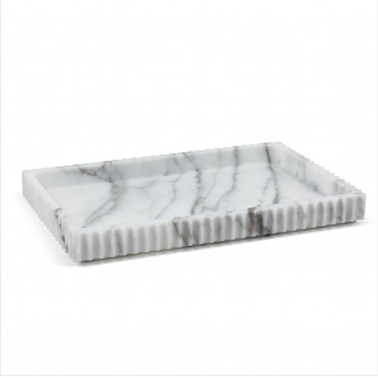 Luxury hotel resin white marble amenity serving coffee tray