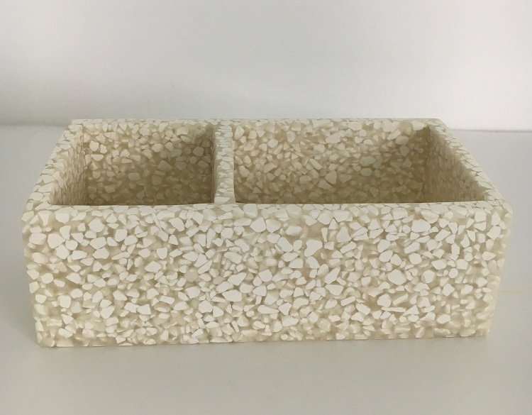 Modern Sandstone Poly Resin Accessory Amenity Serving Tray