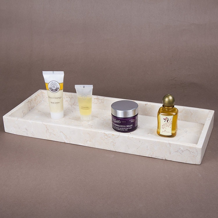 White Marble Hotel Decorative Resin Bathroom Amenity Tray
