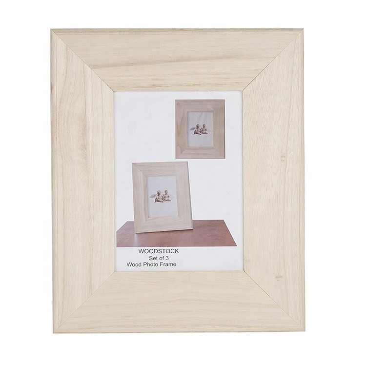 Cheap wholesale unfinished home wooden photo frame natural wood picture frames