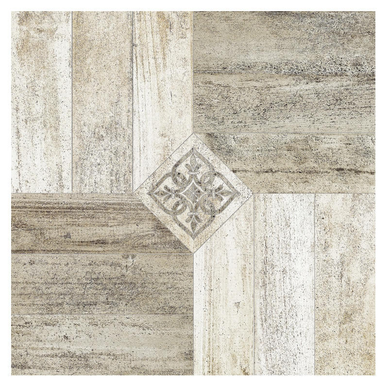 Floor porcelain tile wood medallions