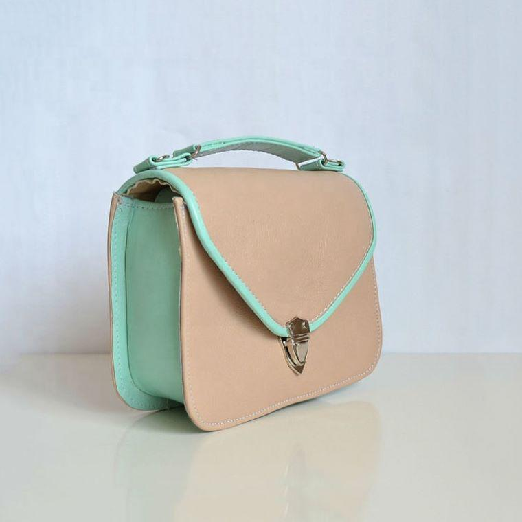 Fashion Small-size Mint Green and Nude Leather Bag Ladies womens tote Handbag