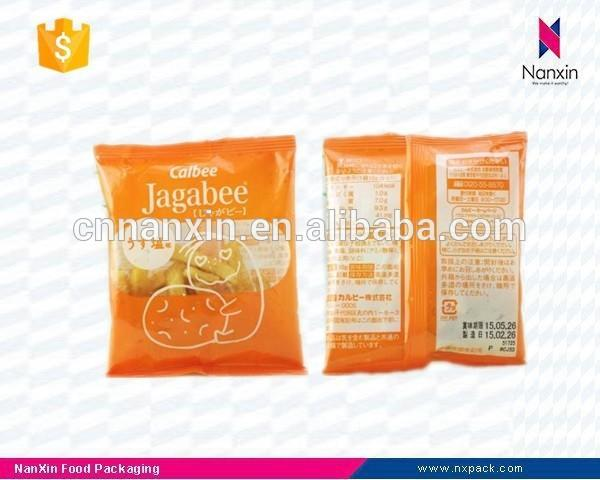 plastic french fries packaging back seal bag with window