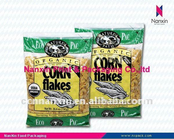 plastic food bag for corn flakes packaging