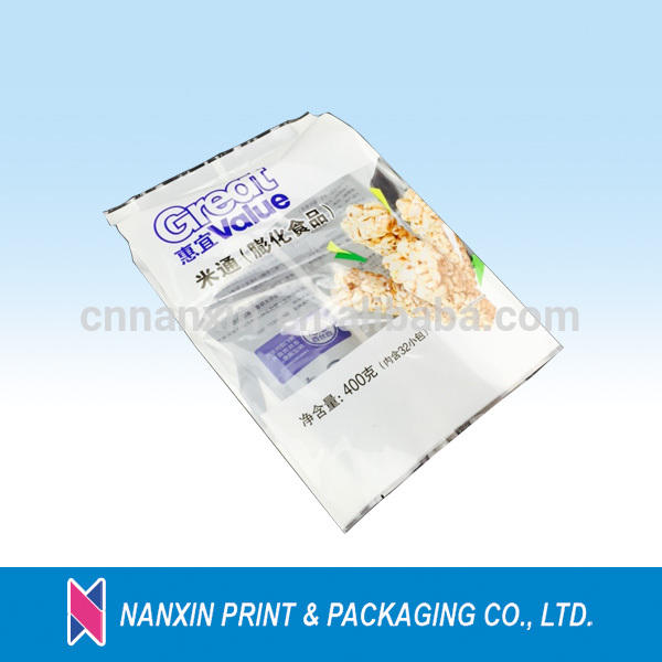 Display packaging snack food back sealing 3 side seal bag