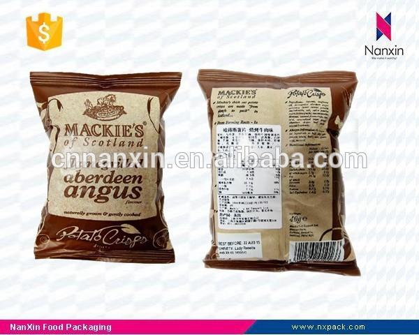 customized potato chips packaging back seal air filled bag