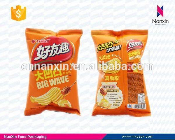 laminated foil potato chips packaging central seal bag