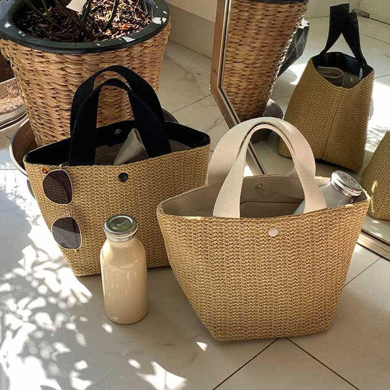 Girls Straw Bag for Beach 2020 New Small Totes Knitting Summer Purses and Handbags Vocational Bucket Bags