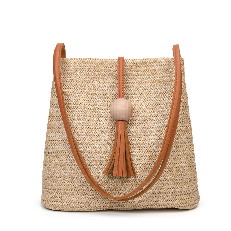 Women Straw Bag Bohemian Rattan Beach Handbag Handmade latest Cross body Bucket Bags Summer Tassel Beach Bag Summer Diagonal New