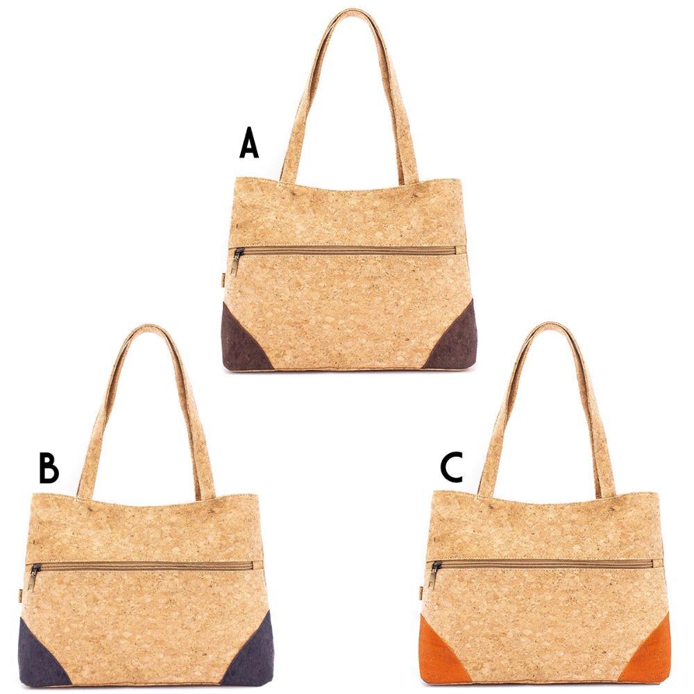 Newest Fashion Eco-friendly Girls Natural Cork Handbag with Front Zipper Pocket