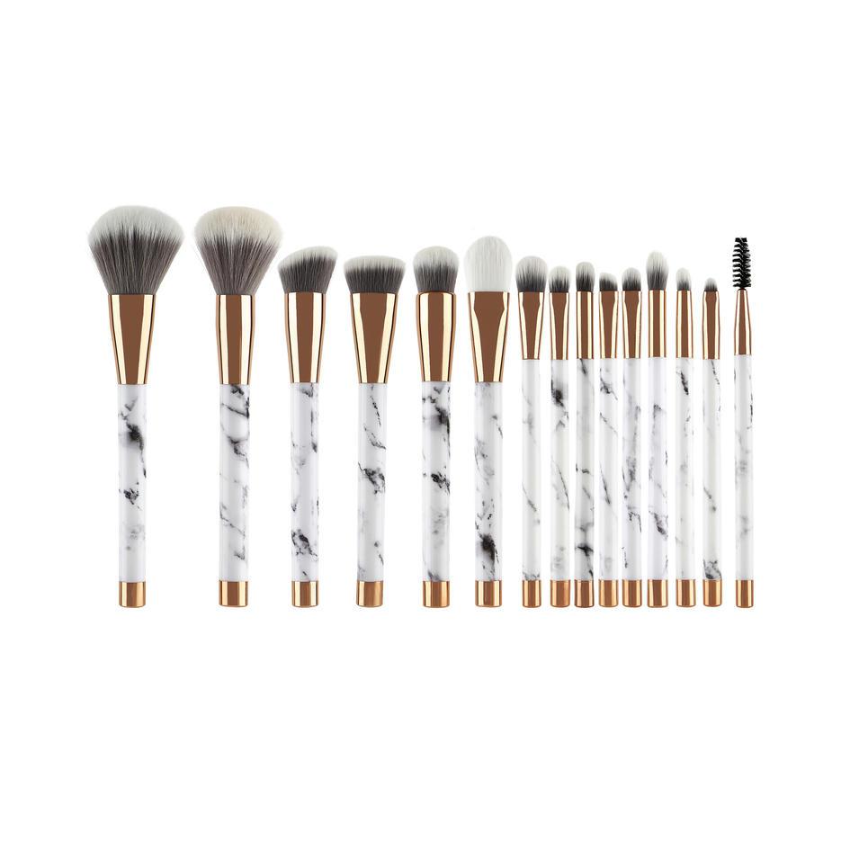 15pcs Marble cosmetic brush set with angled fluffy powder blusher eye makeup kit