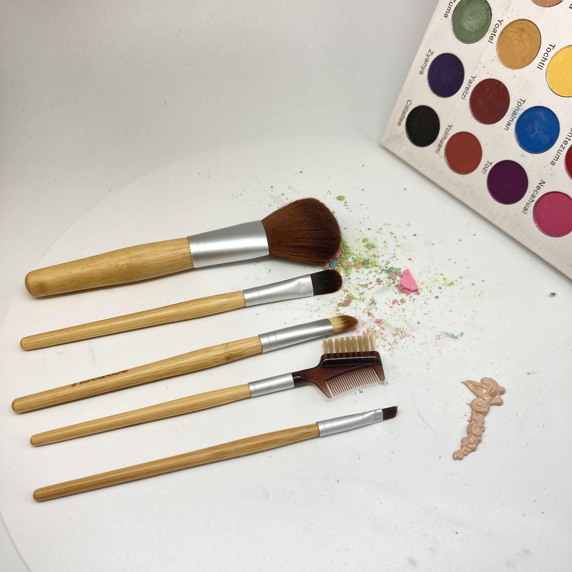 Private label bamboo cosmetic make up brush tool pro makeup brush set