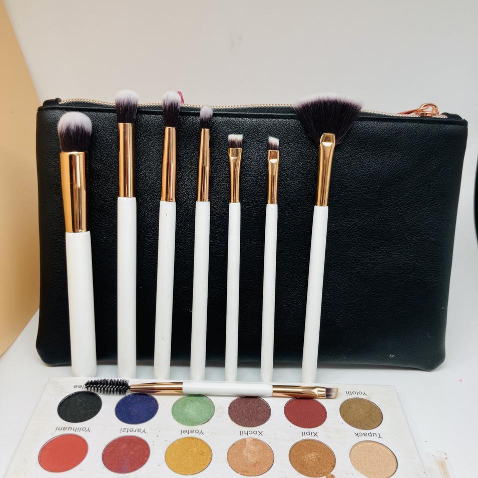Luxury make up kit 15Pcs Natural Bristles Smudge Brush Blending Eyeshadow Makeup brush Set