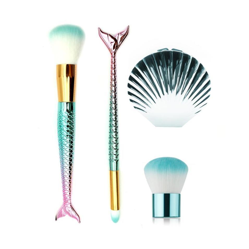 Hot sale 7 pcs Cosmetic foundation fish shape makeup brush, mermaid makeup brush set