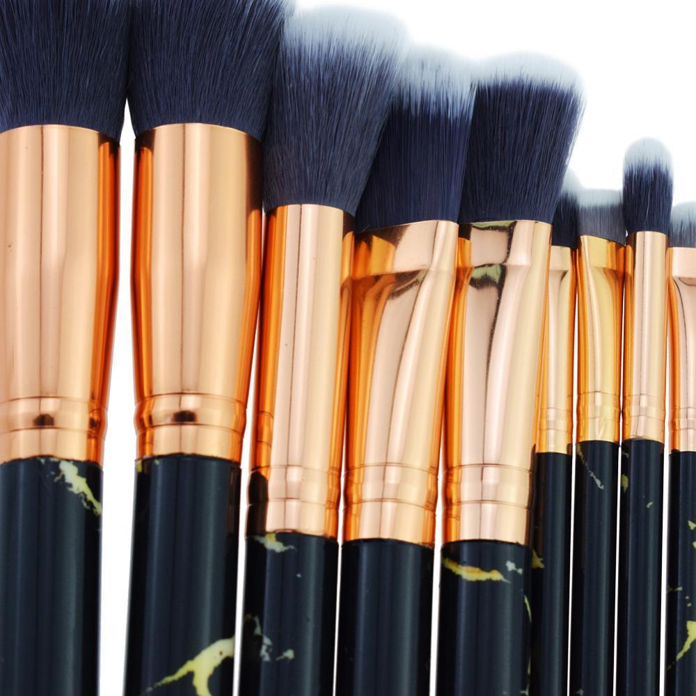 Makeup Kabuki Powder Face Holder Air Make Up Black Marble Cosmetic Brush Set