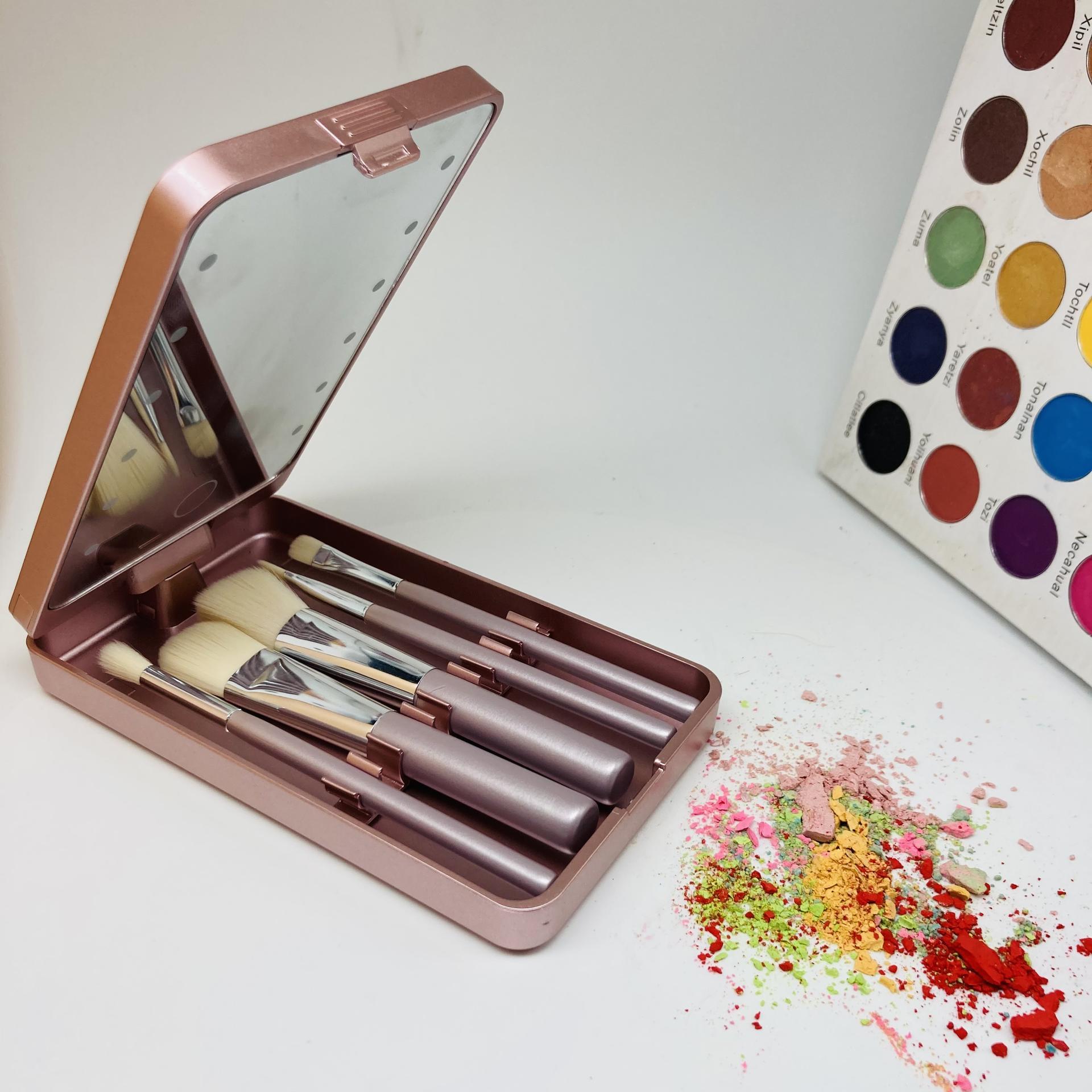 Mini makeup brush set wholesale custom logo rose gold makeup brush travel set