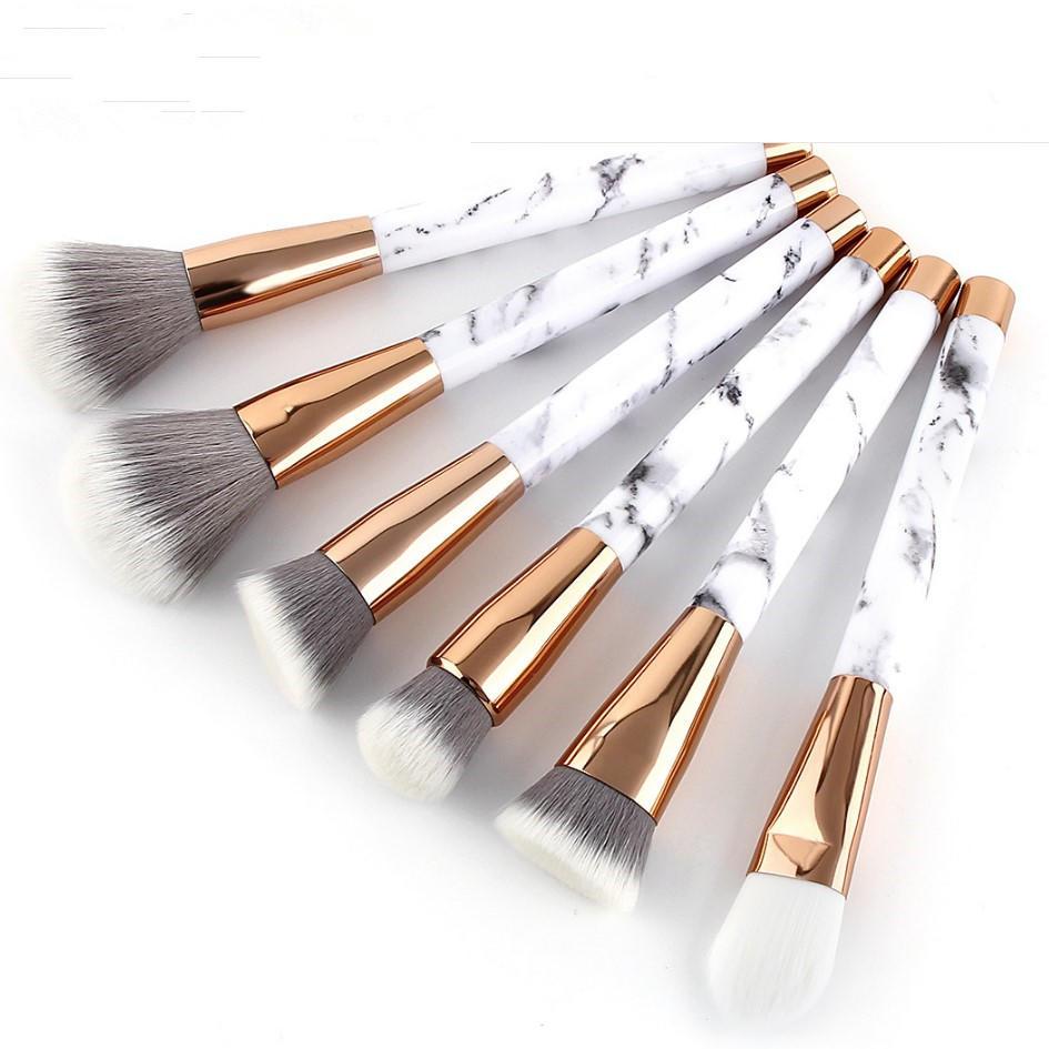 Luxury vegan synthetic hair custom logo eye makeup brush sets marble makeup brushes