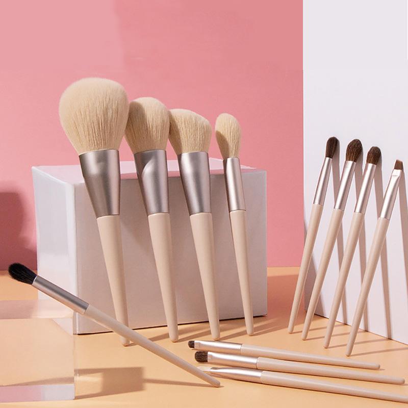12 pcs Professional private label bag Goat Animal Natural hair Makeup Brush Set
