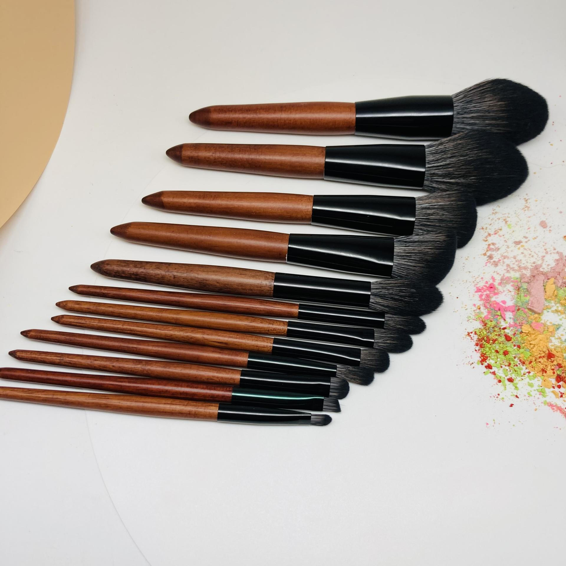 Travel make up brush bag packging vegan custom logo portable make up brushes 12 pcs