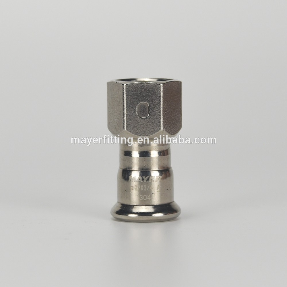China Supplier Inox Press Fitting Coupling with Female Thread Pipe 22x3/4