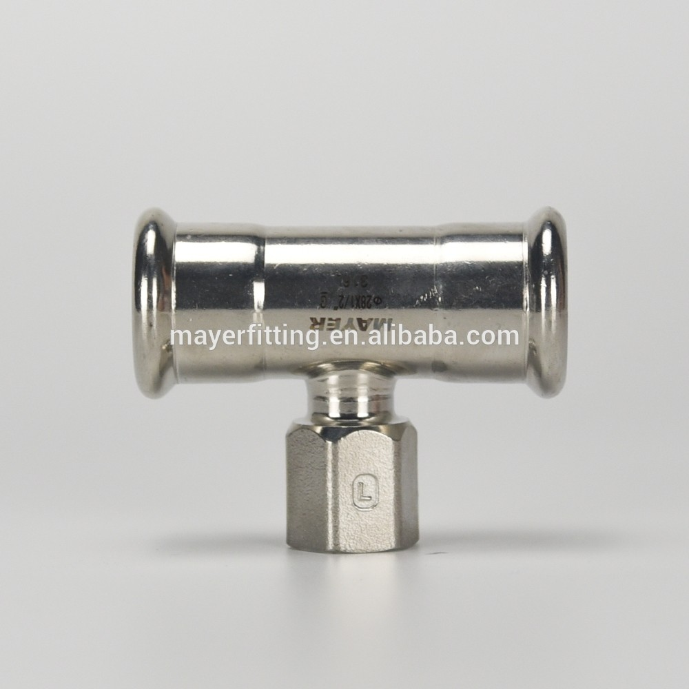 Factory Supply SS 316L Female Tee Pipe Fitting 28x1/2