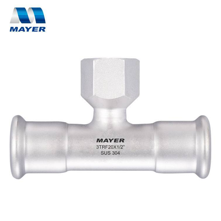 Pipe fitting Female Tee Stainless Press Fitting 316L
