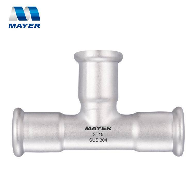 ss304 equal tee stainless steel for water system Viega fitting