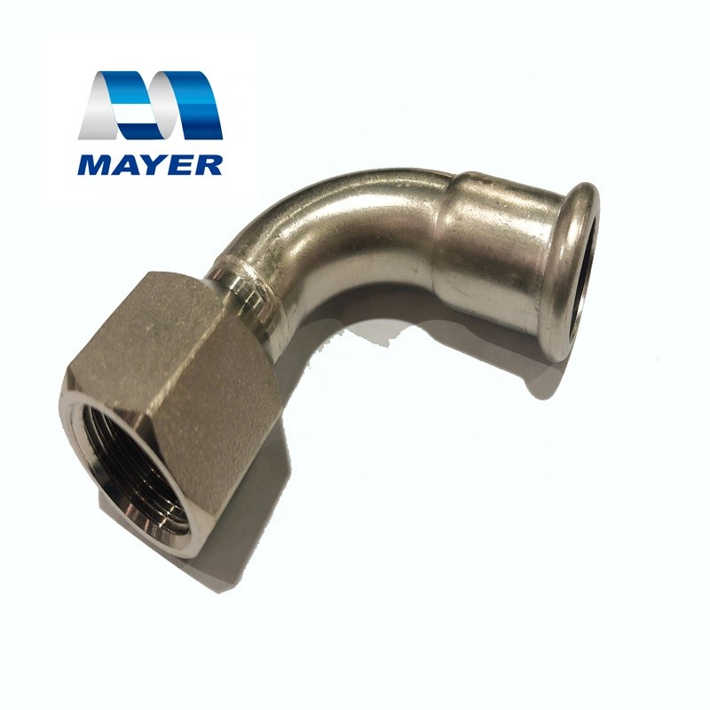 304/316L stainless steel elbow with thread pipe fitting food grade application on drinking water/machinary/construction