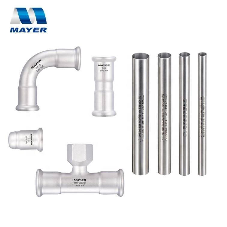 factory supply inox press fitting tube connectors AISI 304/316L