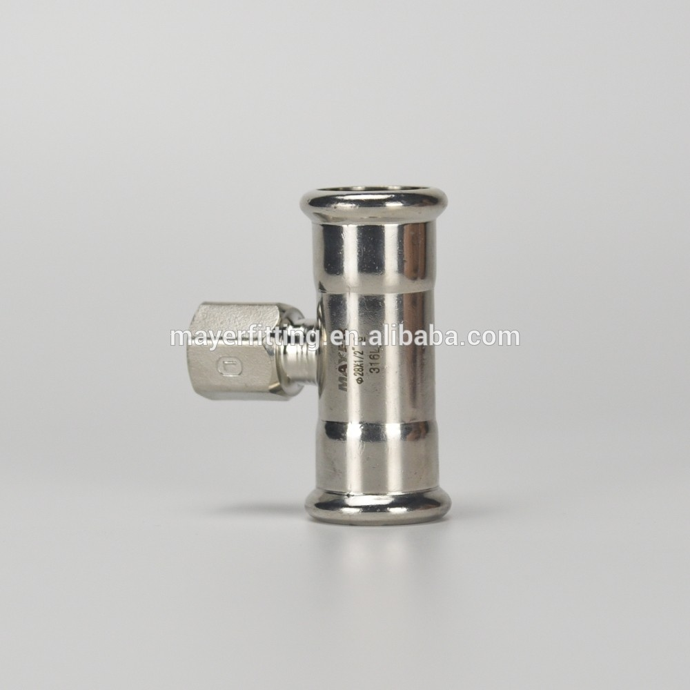 Top Quality Stainless Steel Press Fitting Female Tee Pipe Fitting 28x1/2