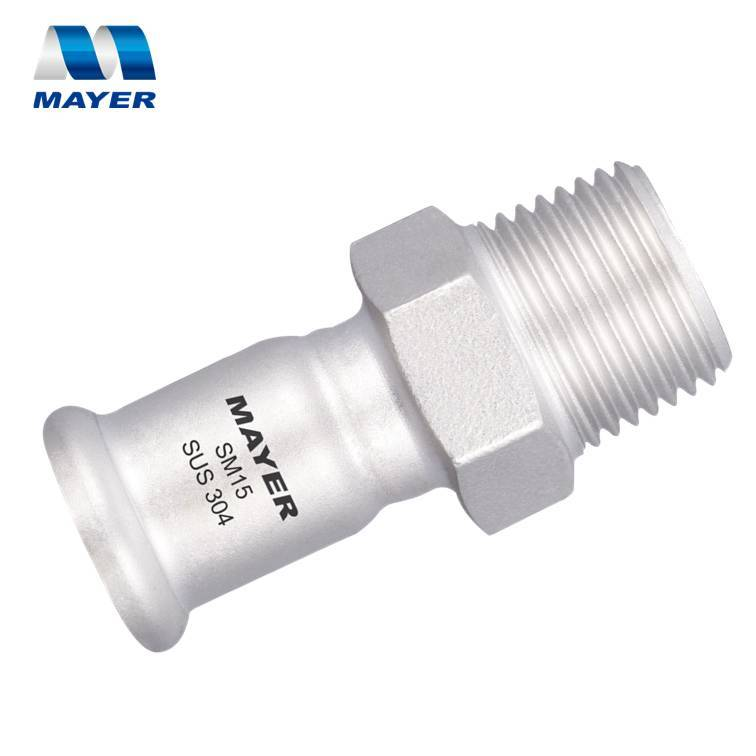 Stainless steel tube press fittings M profile male threaded adapter
