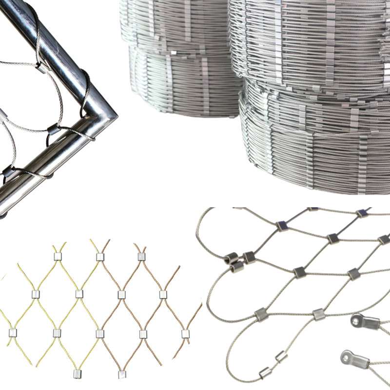 Popular DIY Install Design AISI 316 Ferrule Type Stainless Steel Rope Wire Mesh